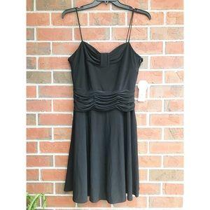 Nine West Spaghetti strap black ruched dress